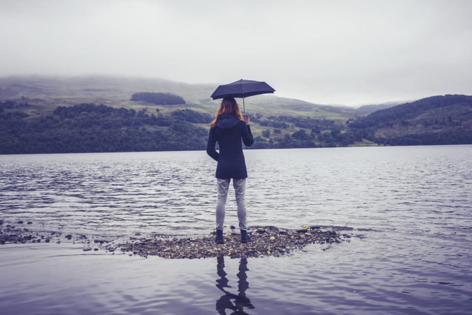 Young woman with an umbrella standing in lake