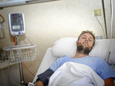 Man in hospital bed from ketamine overdose